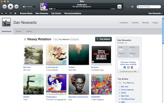 Rdio online music streaming service interface