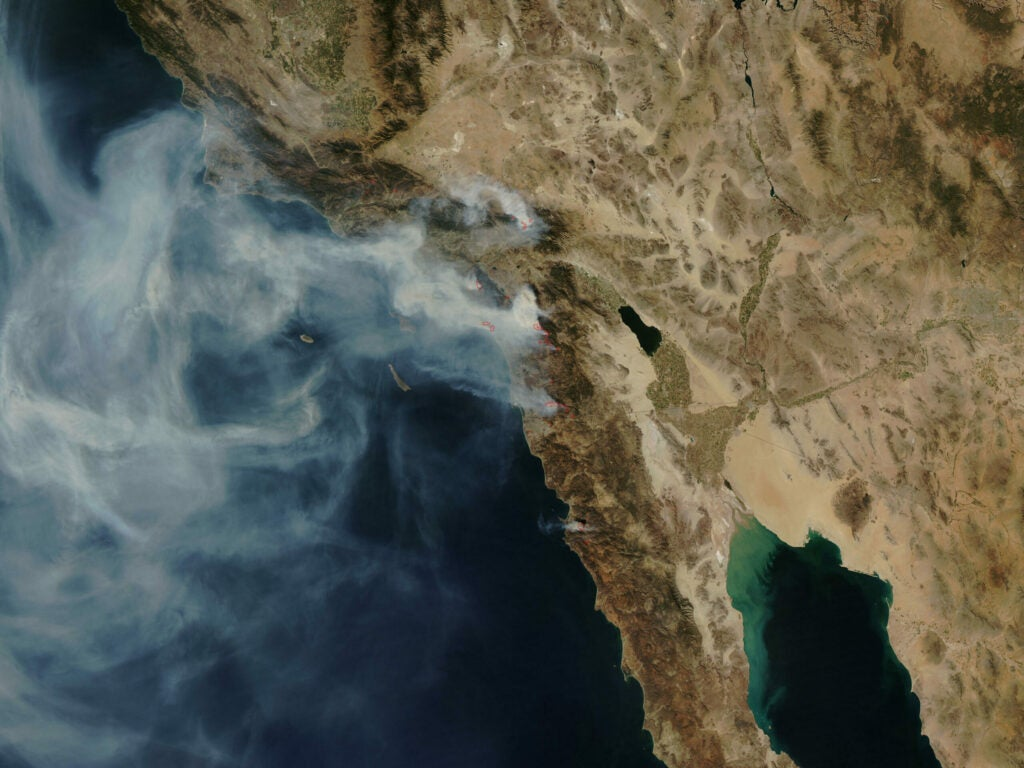 The 2007 California wildfires, as viewed from space. Fires burned from Santa Barbara to the U.S.-Mexico border.