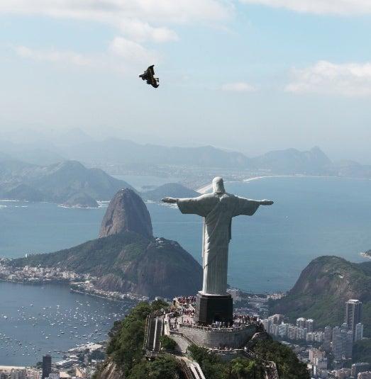 'Jetman' Yves Rossy Takes to the Skies Above Rio de Janeiro