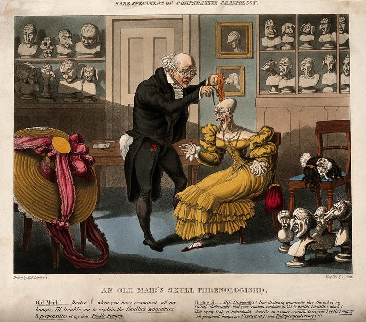 Caricature showing Franz Joseph Gall measuring the head of a bald lady