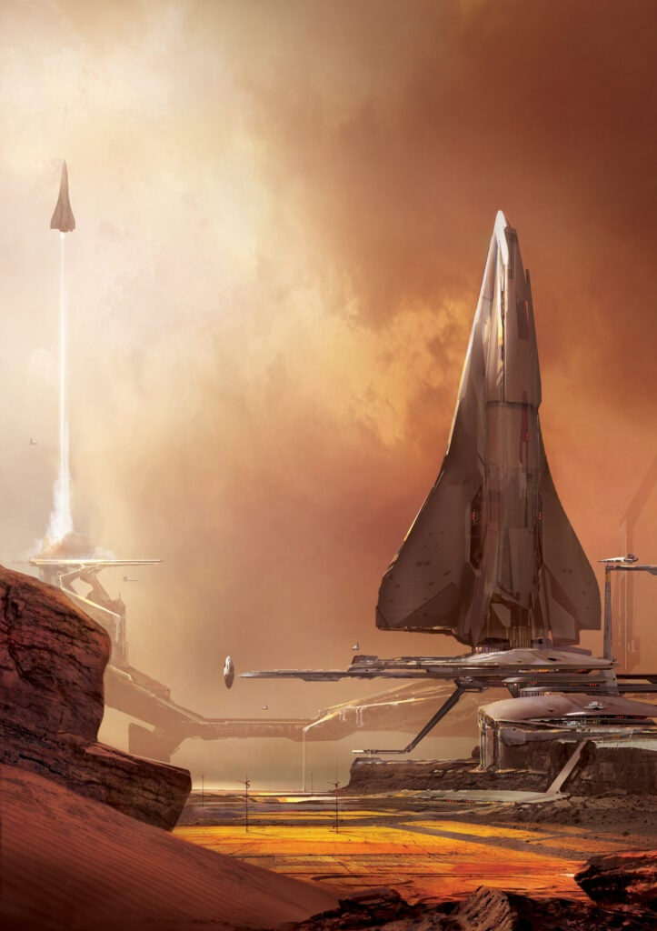 space transport vehicles fly into the sky from mars