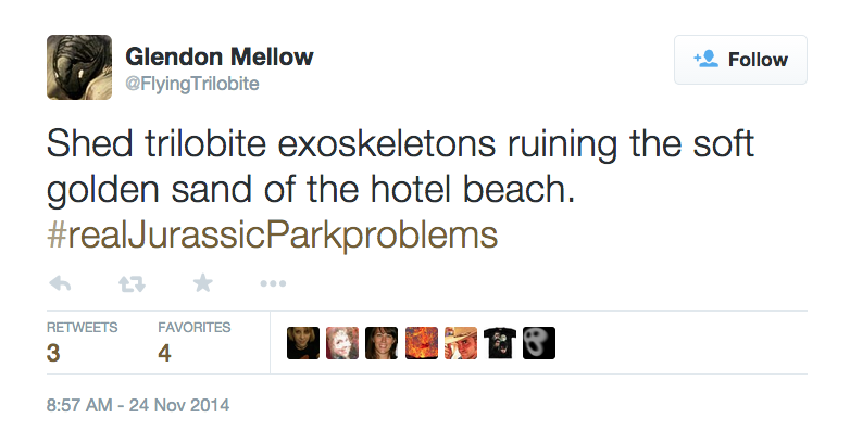 Tweet: Shed trilobite exoskeletons ruining the soft golden sand of the hotel beach. #realJurassicParkproblems