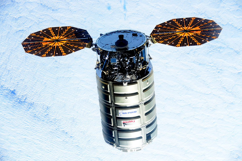 Cygnus about to dock with ISS