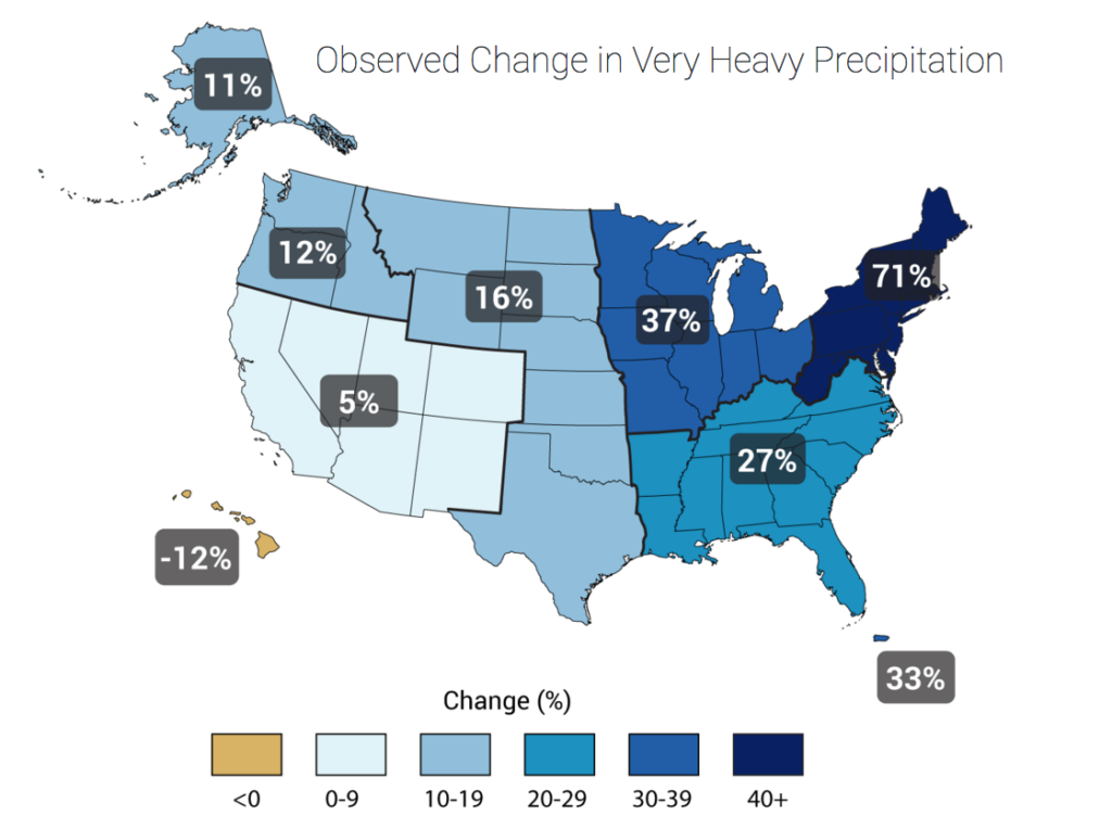 Map showing changes in heavy precipitation in US by region