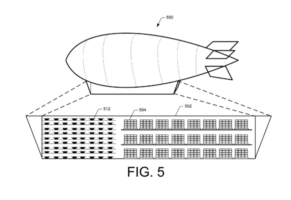 Amazon patents warehouse blimps with packages delivered by drone