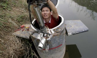A Chinese DIY Submarine Made from Oil Barrels
