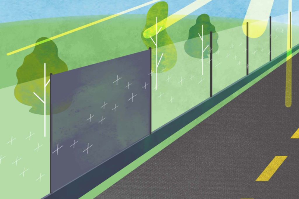 An illustration of a road with barriers along the side