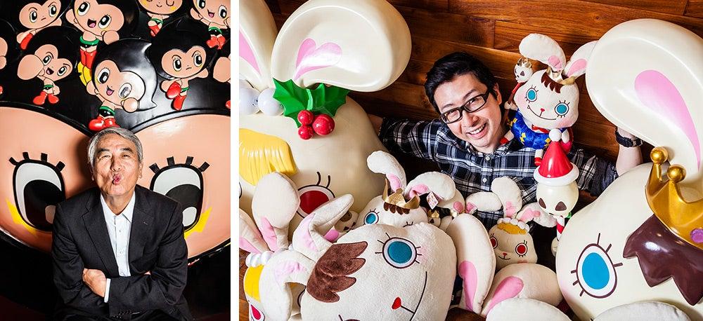Matsutani Takayuk and Aaron Liu with toys