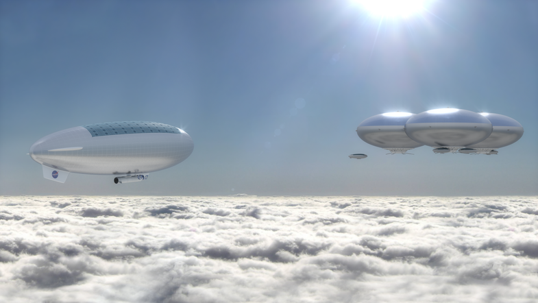 blimps above clouds