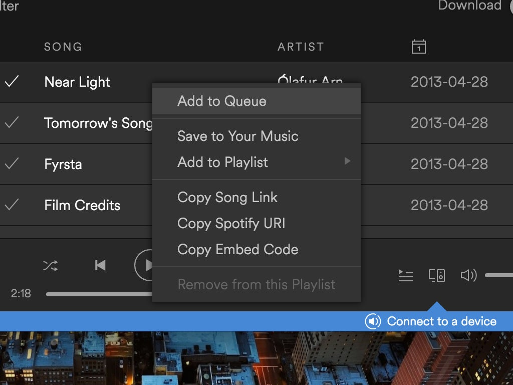 The options for copying a Spotify playlist.