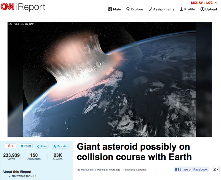 Bogus User-Generated CNN Asteroid Apocalypse Article Goes Viral