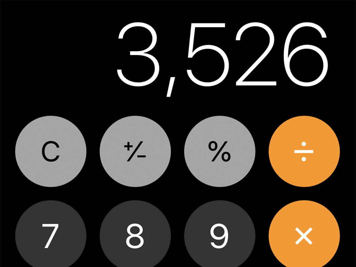 The iOS Calculator app displaying 3,526. You can swipe left or right to remove the last digit.