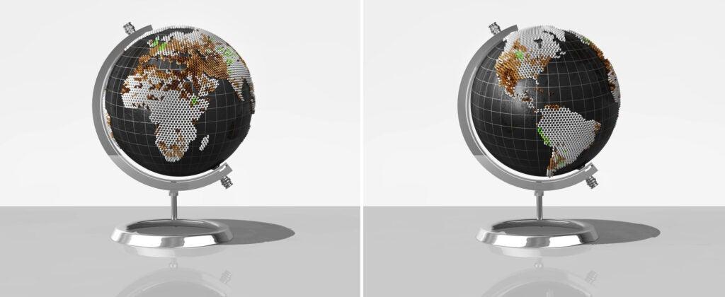 globe showing water stress