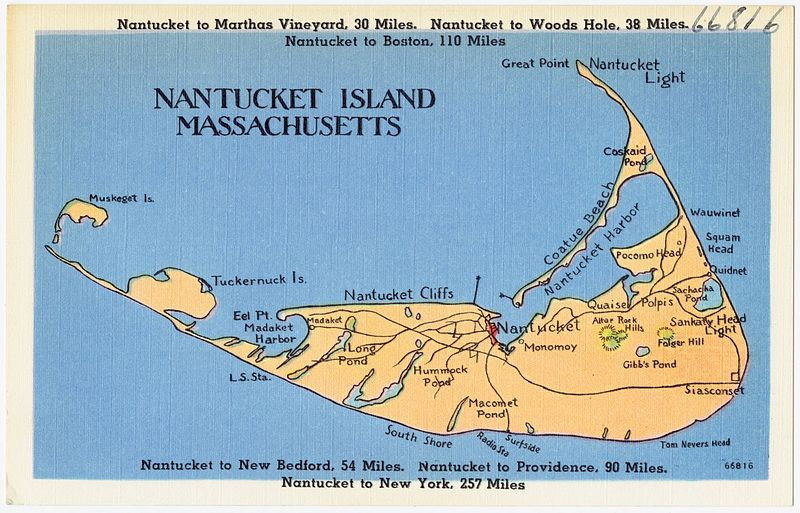 Nantucket Island map postcard vintage