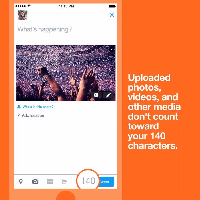 Starting Today, Pics And Videos Don't Count Toward Your Twitter Character Limit