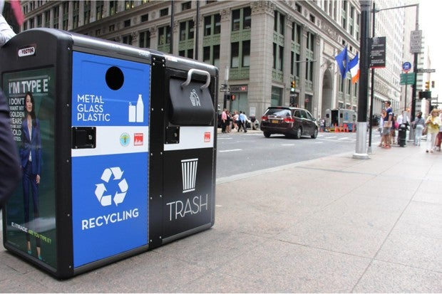 smart trash cans on a NYC street