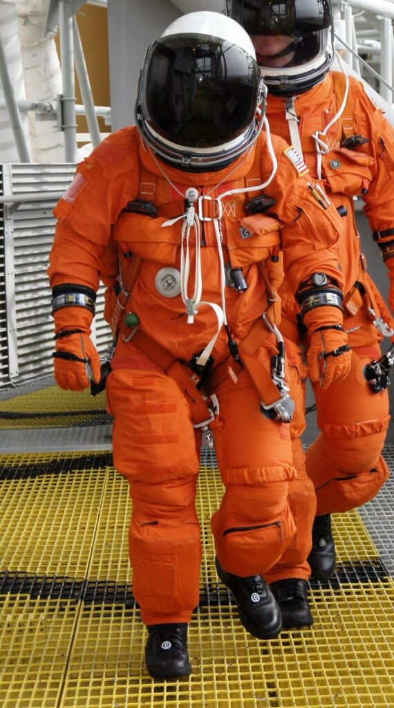 orange nasa launch and entry suit