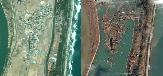 Satellite Images Before and After Quake Show Devastation Throughout Japan