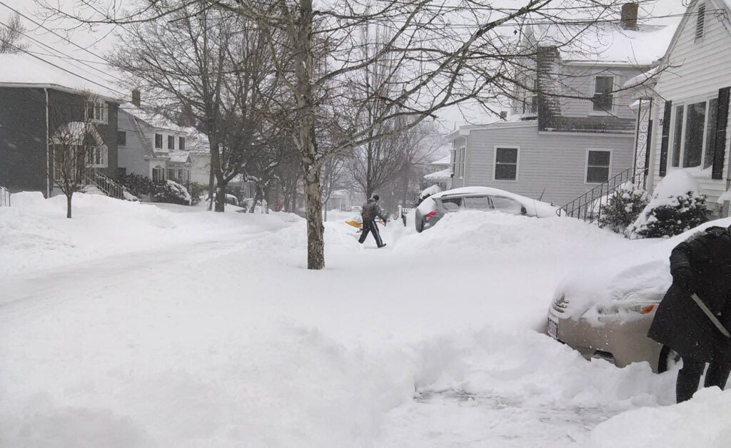 Residents of Watertown, MA dig out from a January 2015 nor'easter.