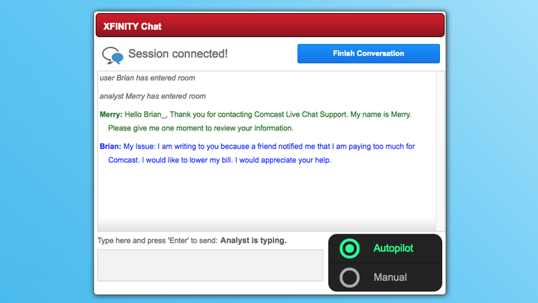 This chatbot will deal with Comcast customer service for you