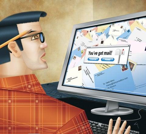 Man checking email inbox