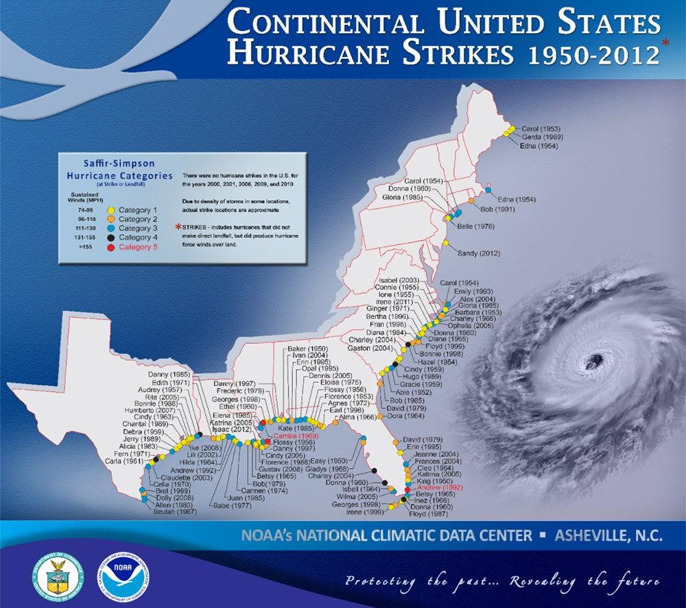 continental United States hurricane strikes