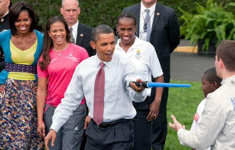 Obama with a lightsaber
