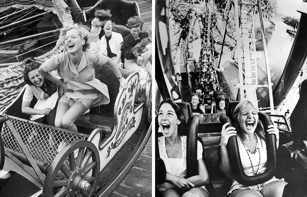 young people riding on roller coasters