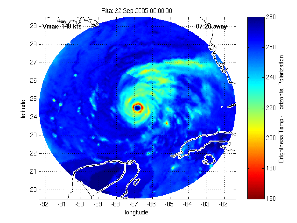 A microwave image of Hurricane Rita at category five intensity