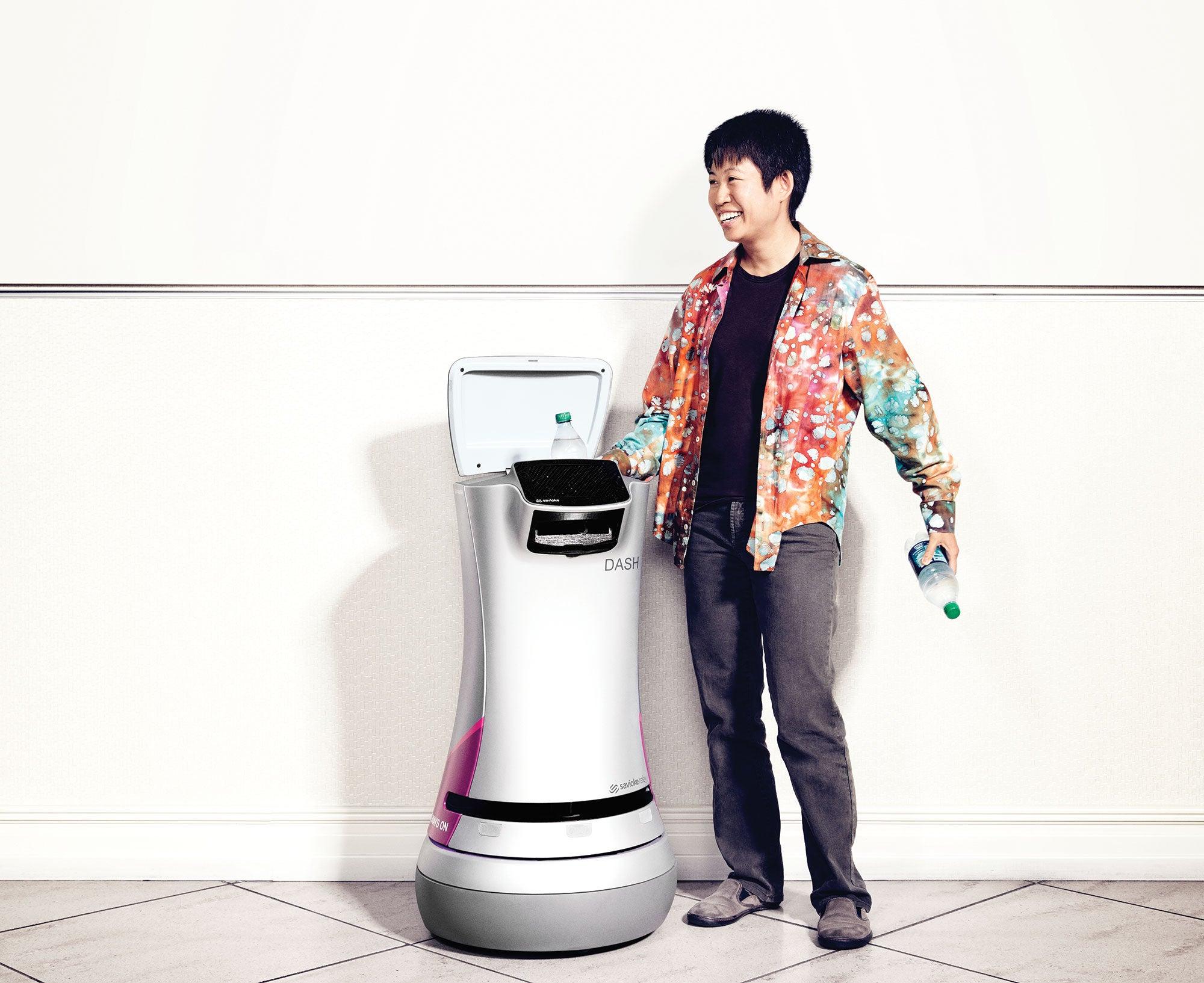 Tessa Lau, co-founder of Savioke with her robot employee