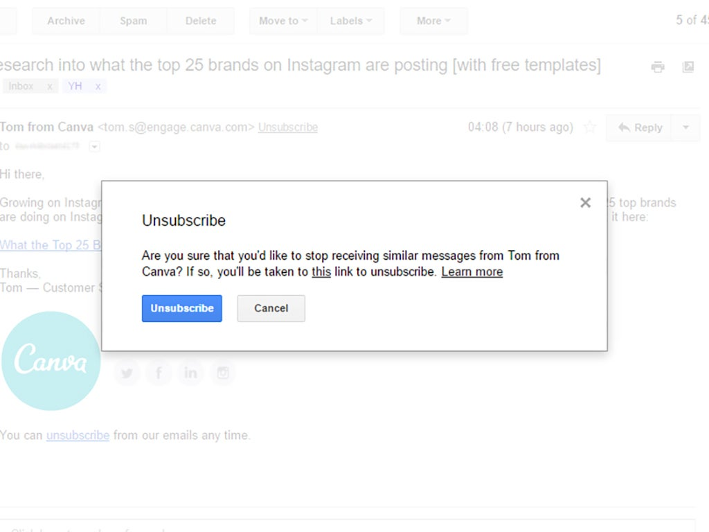 The window that appears when you try to unsubscribe from a newsletter in Gmail, asking if you're sure you want to set yourself free.