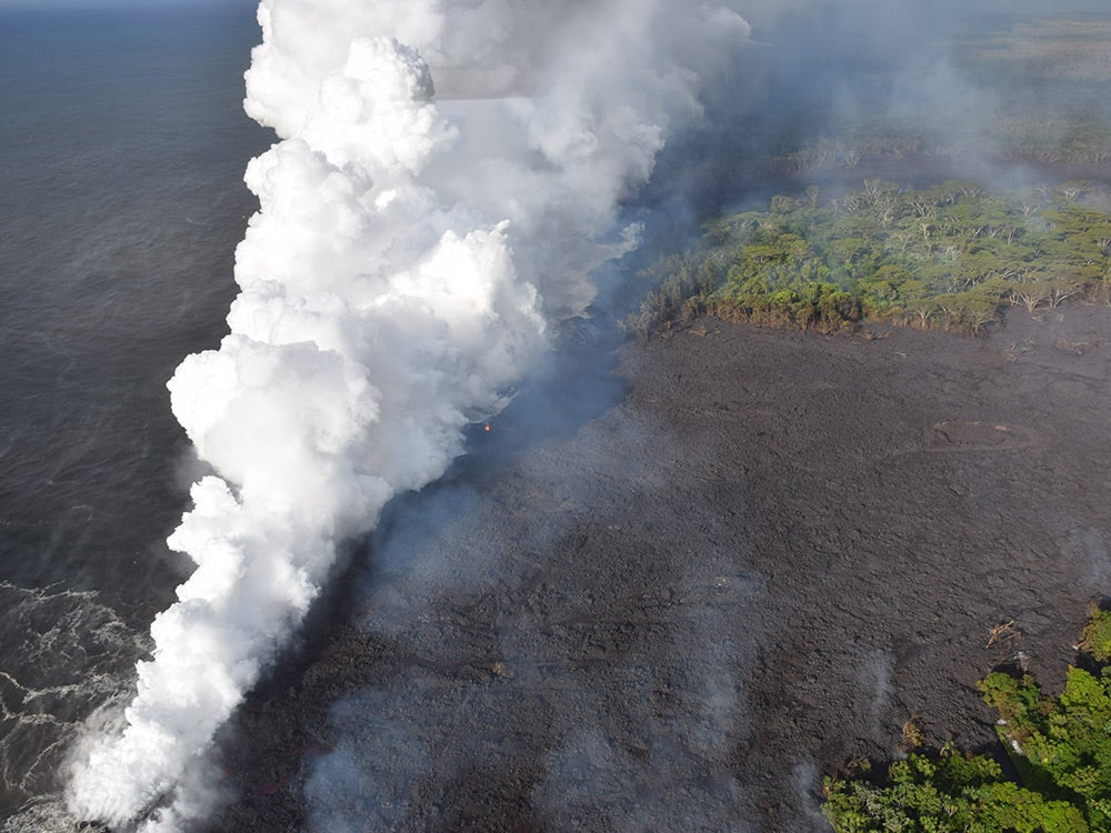 new land formed by lava