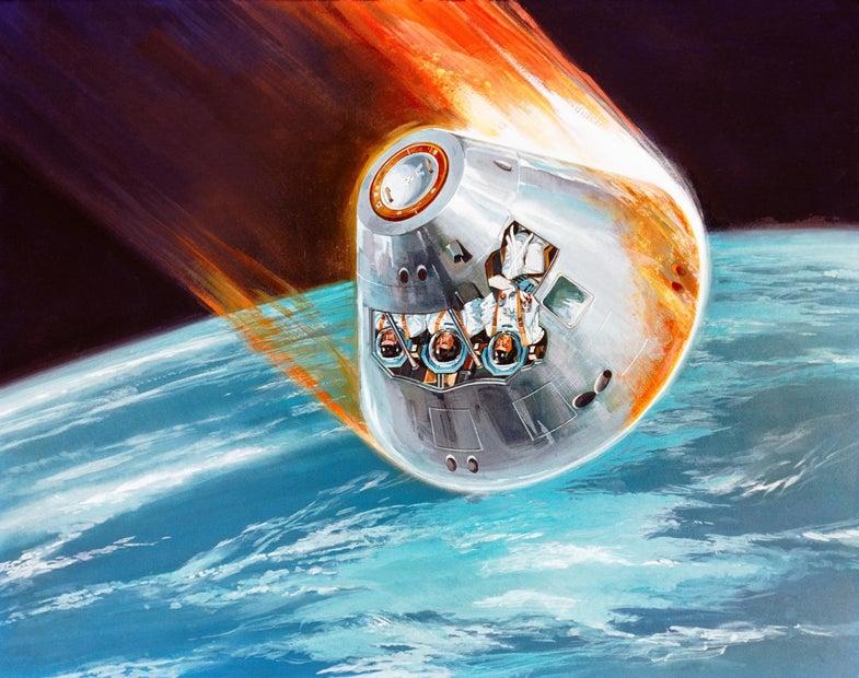 Apollo command module accelerating in Earth's orbit