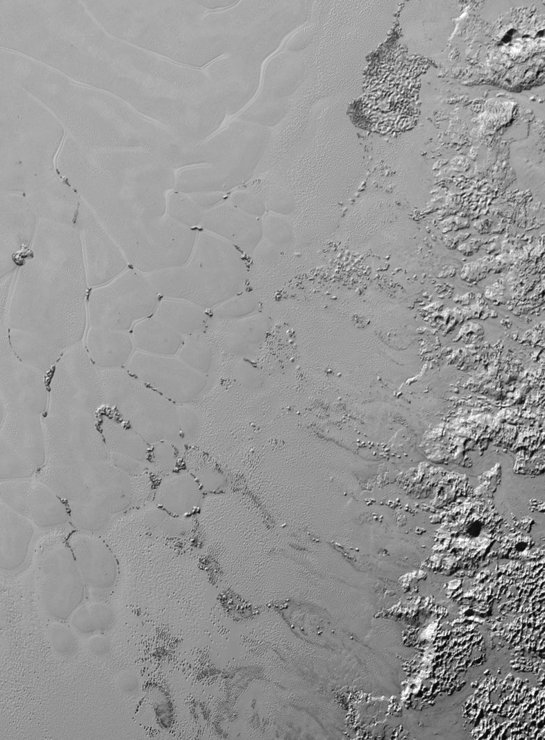 Pluto's Heart Probably Has Floating Mounds of Water Ice