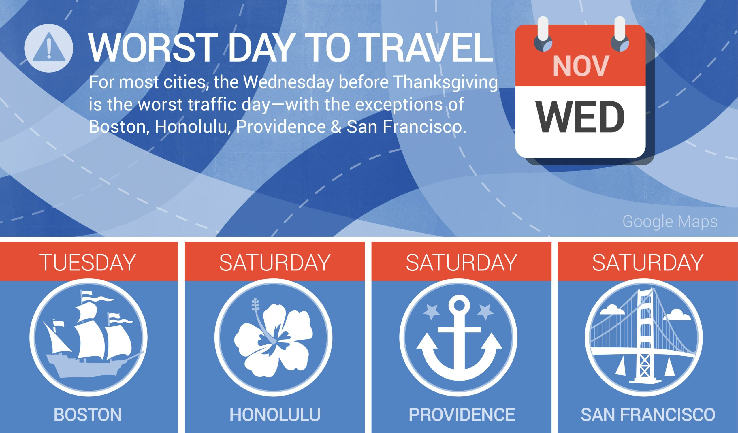 Google Determines Best Travel Times For Thanksgiving Week