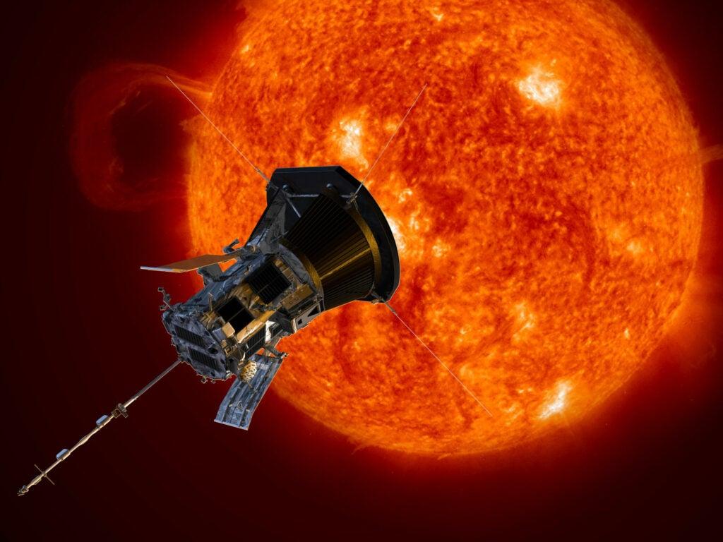 artist markup of the Parker Solar Probe spacecraft