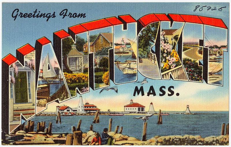 Greetings from Nantucket postcard Massachusetts