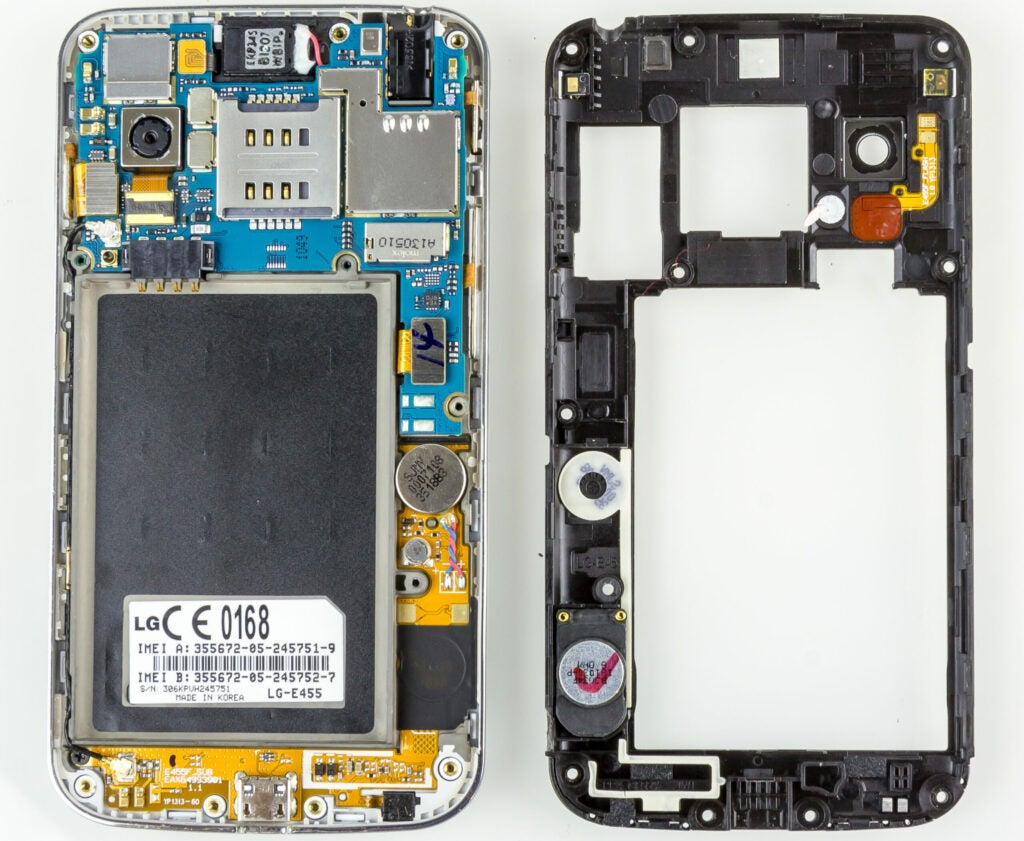 The circuit board of a cell phone.