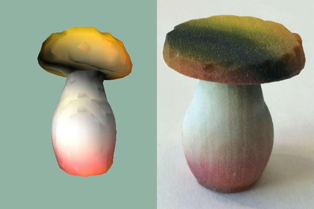 A 3D model of a mushroom and a 3D printed version of that model.