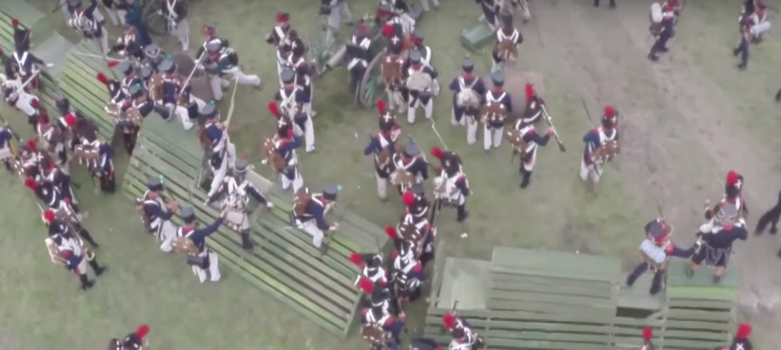 Reenacted Napoleonic Battle Filmed By Drone