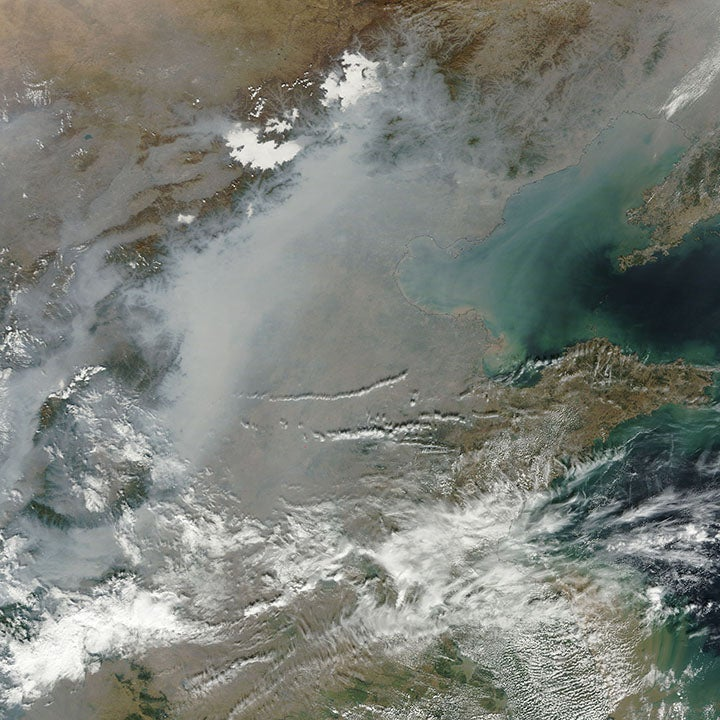 air pollution in China seen from space
