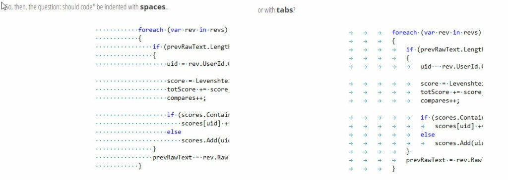 Image illustrates the difference between spaces and tabs from the programmer's perspective.
