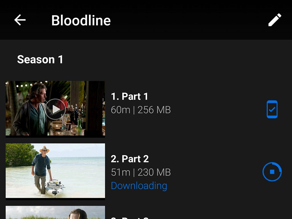 The Netflix user interface for the show Bloodline, showing offline download options.
