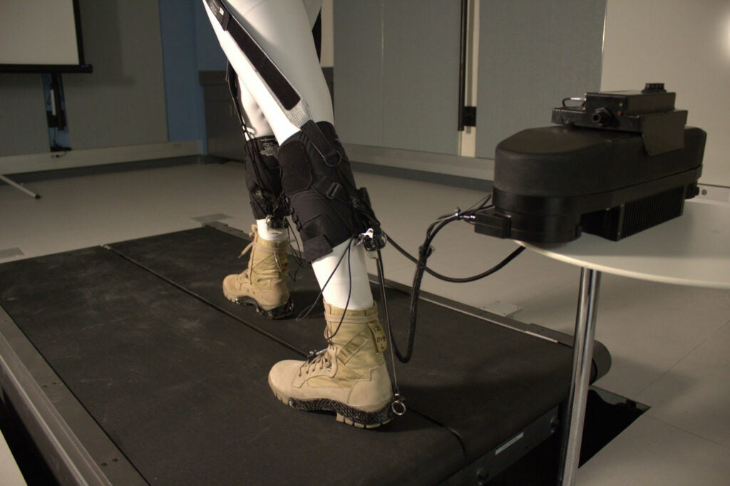robotic ankle controlled by a motor and attached to spandex straps