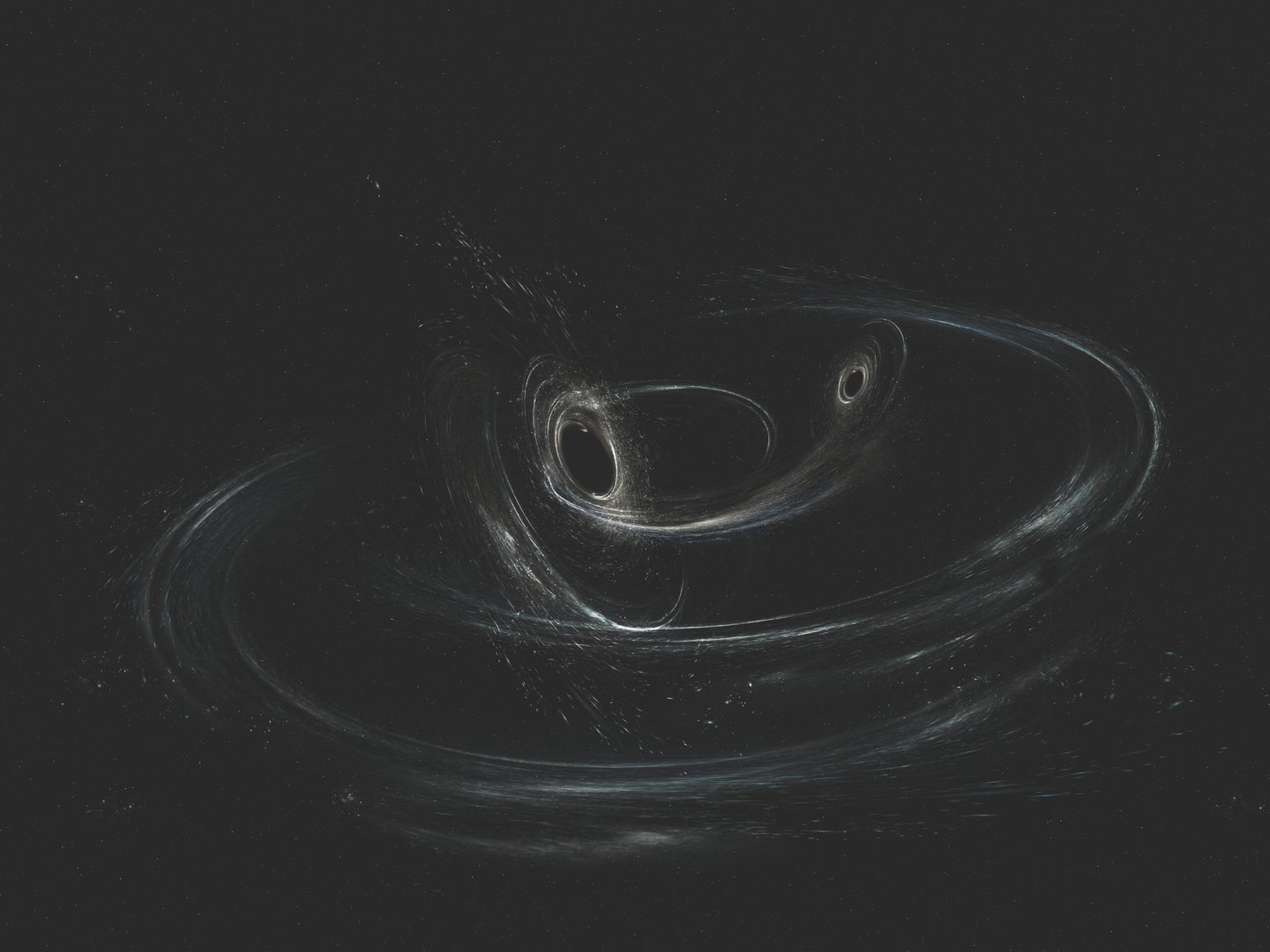 two black holes orbiting each other