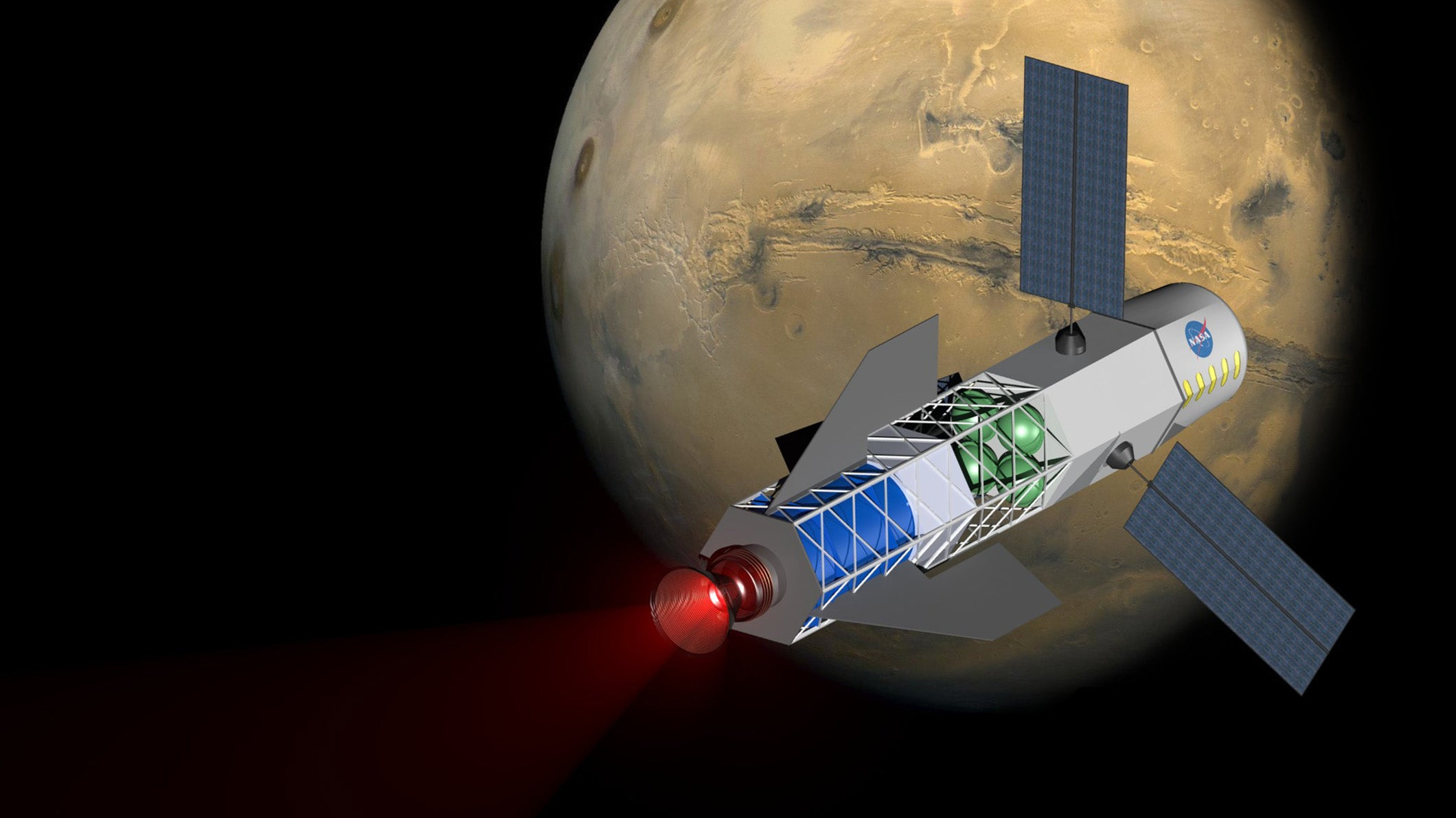 fusion rocket flies around Mars