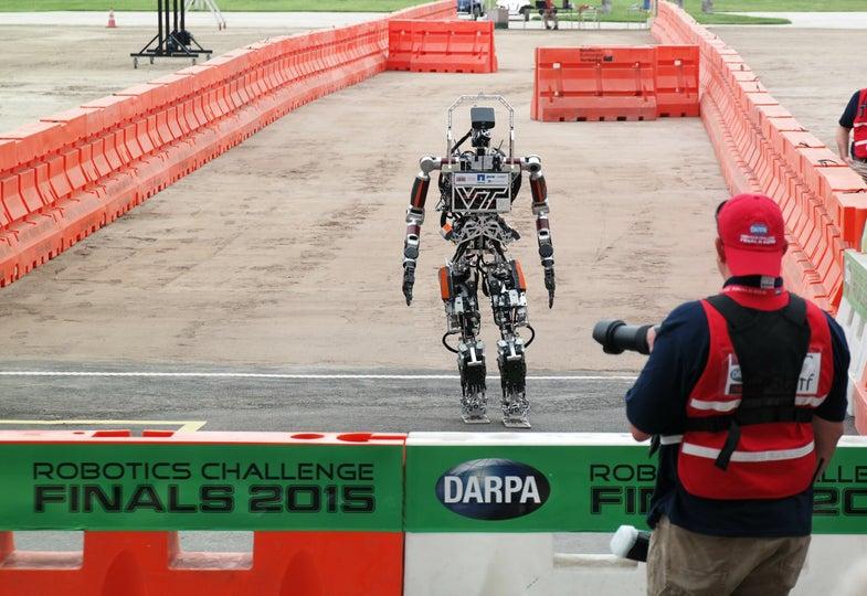 Team VALOR's ESCHER robot walking at the DRC