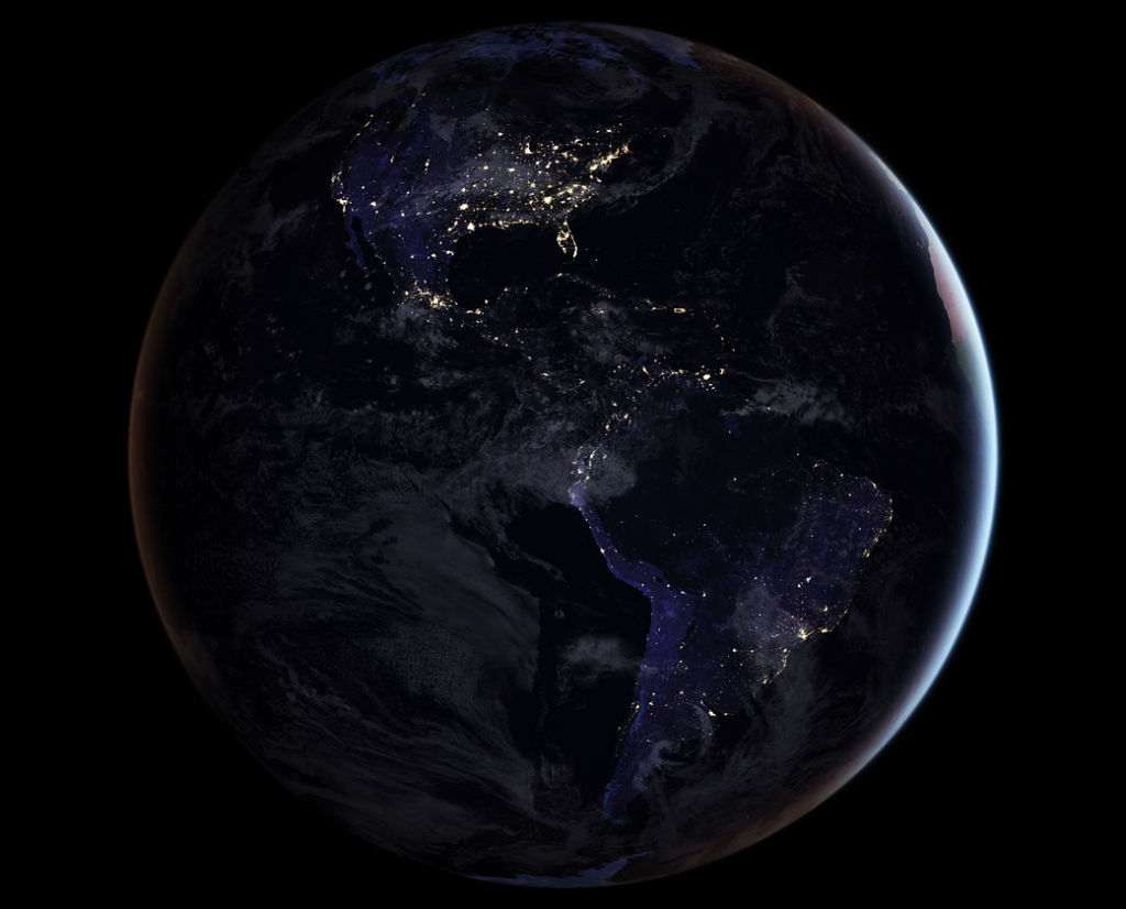 Americas at night from space