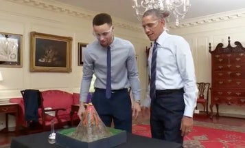 Watch President Obama Joke About Melting Stephen Curry's Fingers With A Volcano