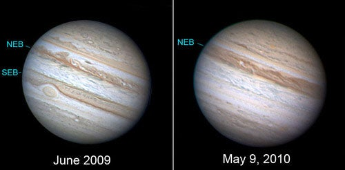 While Hiding Behind the Sun, Jupiter Loses One of its Belts